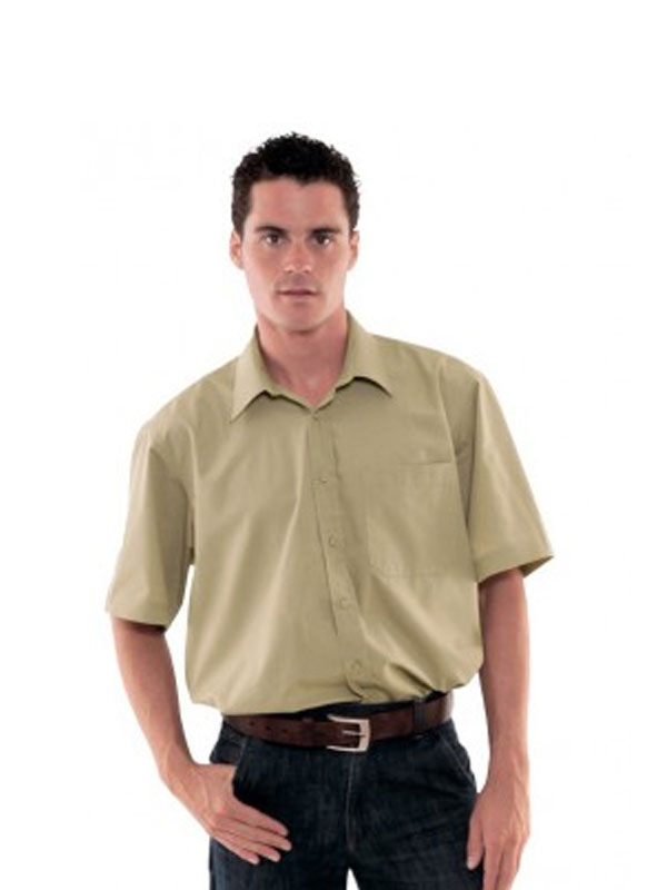 Camisa beige manga corta popelín 65% pol.- 35% alg.
