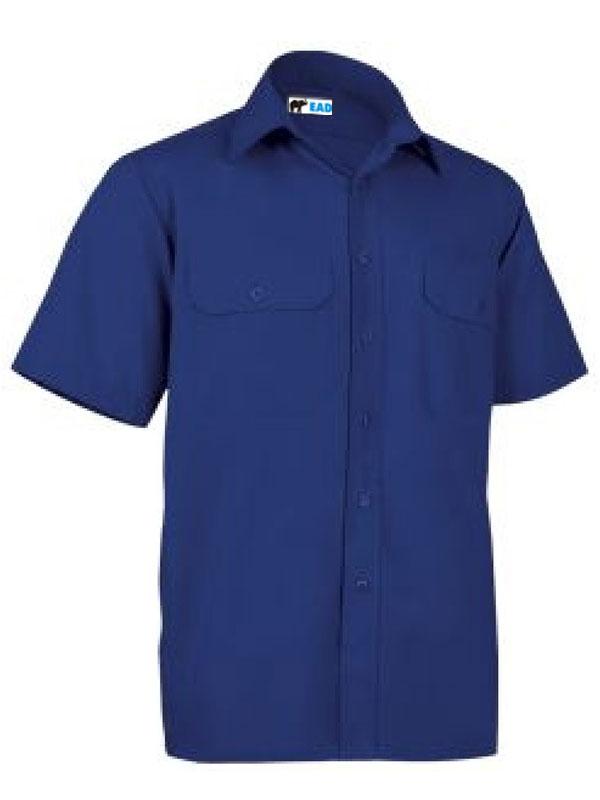 Camisa azulina manga corta popelín 65% pol.- 35% alg.