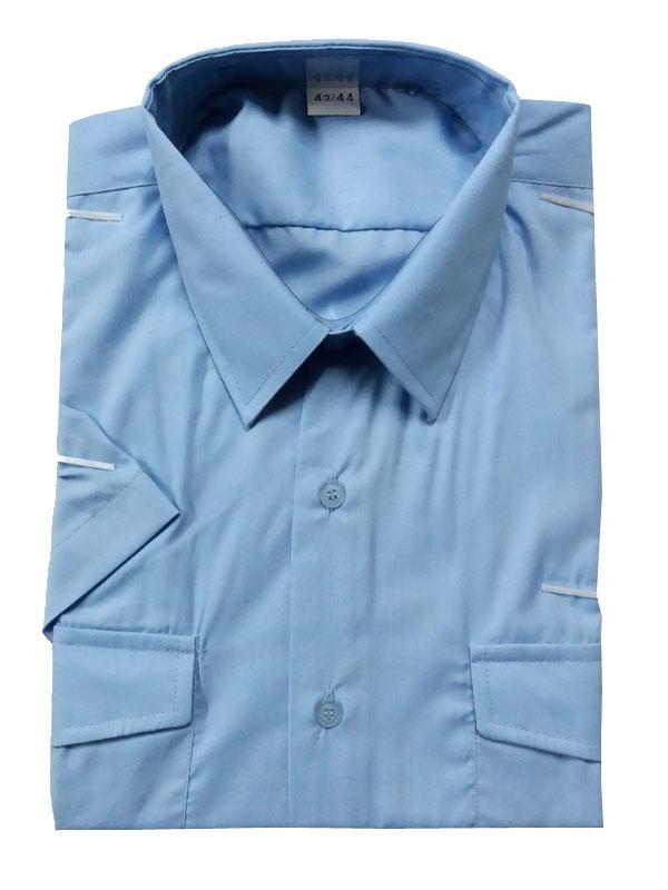 Camisa azul celeste manga corta popelín 65% pol.- 35% alg.