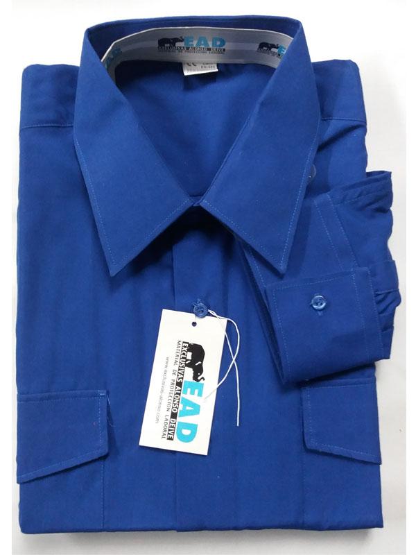 Camisa azulina manga larga popelín 65% pol.- 35% alg.