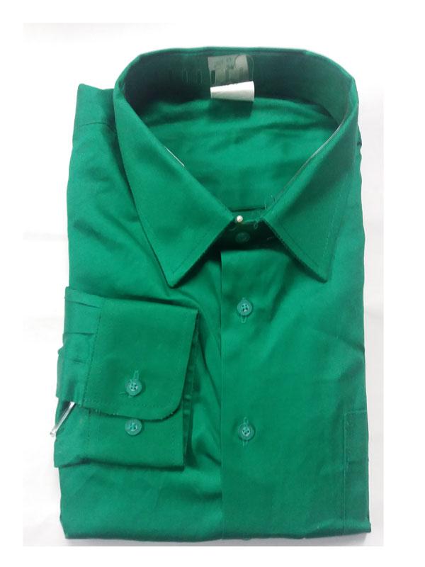 Camisa verde manga larga popelín 65% pol.- 35% alg.