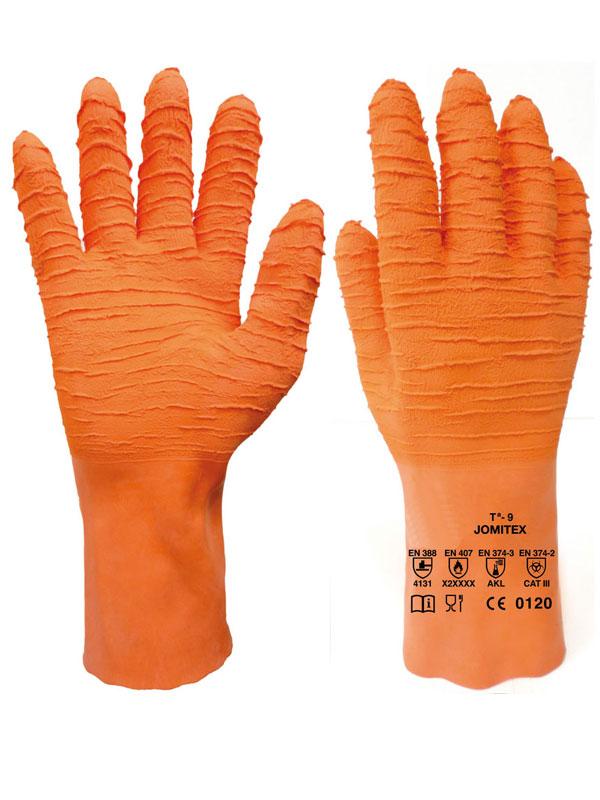 Guante de trabajo de latex naranja modelo gla jomitex