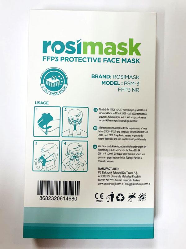 MASCARILLA  AUTOFILTRANTE FFP3 NR VERTICAL  MODELO ROSIMASK PSM-3