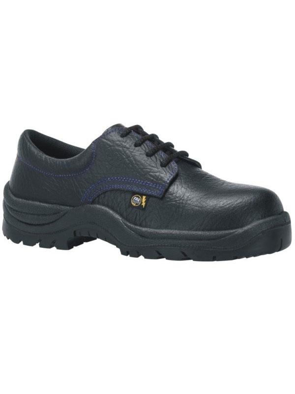 Zapato de seguridad modelo tajo piel flor negro