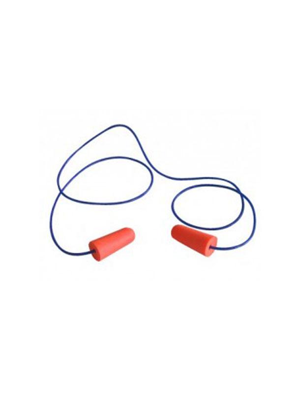 Caja de 200 pares de tapones auditivos de poliuretano c/cordones snr=36 db ref. 910.351 medop