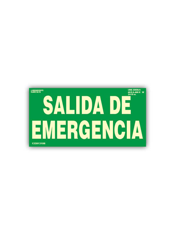 SEÑAL LUMINISCENTE SALIDA DE EMERGENCIA DE 210X150