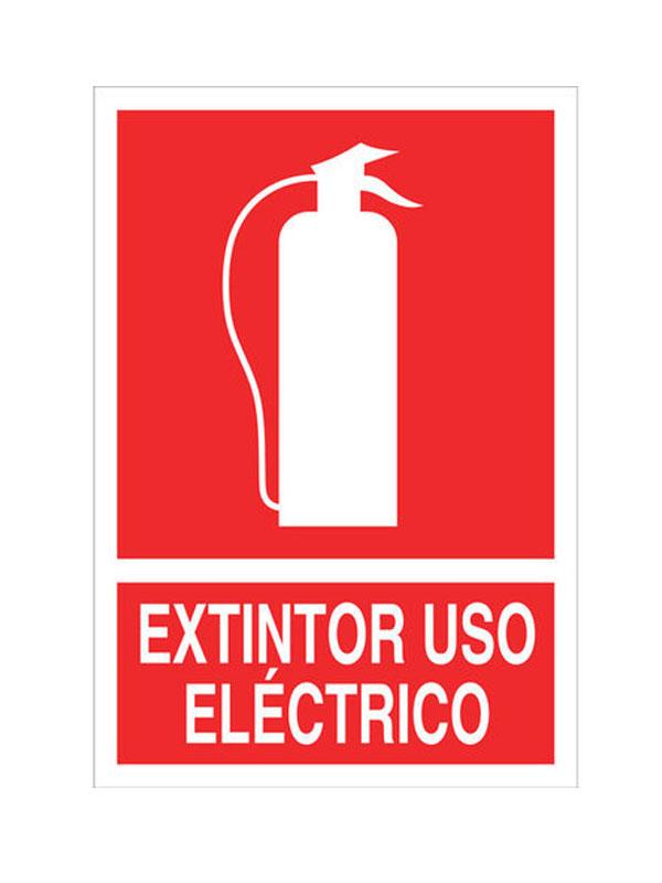 SEÑAL LUMINISCENTE EXTINTOR USO ELÉCTRICO REF. CIR 121 DE 230X340