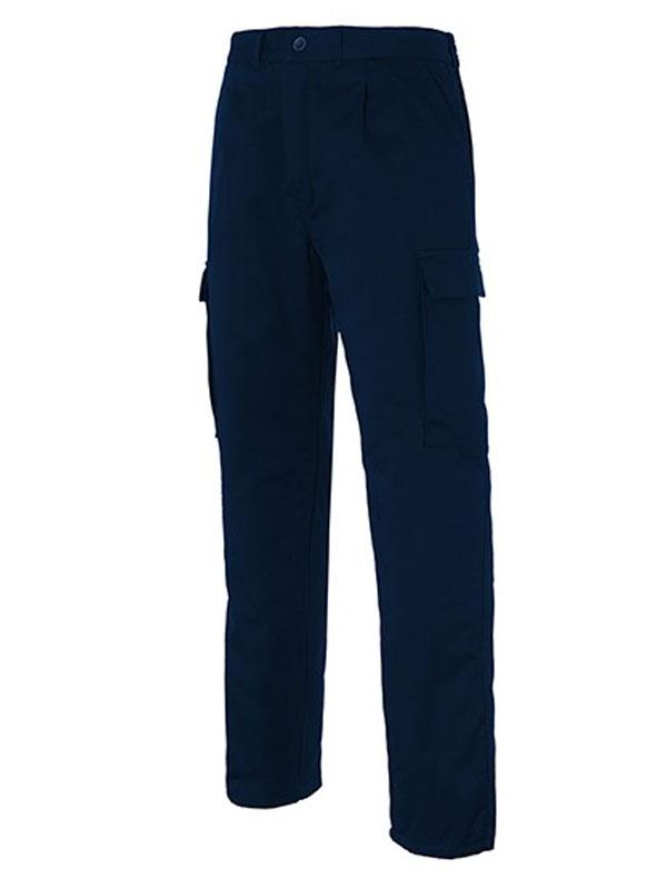 Pantalón laboral multibolsillos acolchado marino mod. s