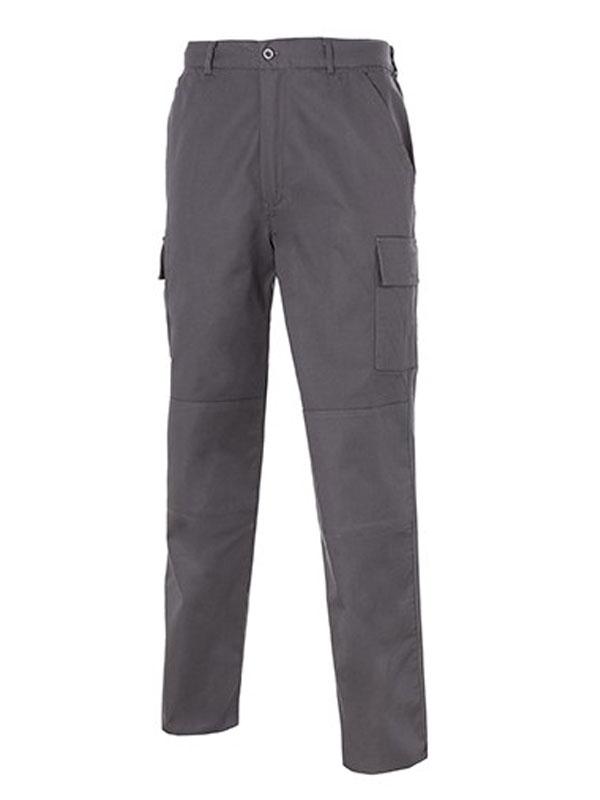 Pantalón de trabajo gris reforzado multi-bolsillos 100% alg. mod. s